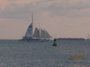 A schooner trawling the waters off Key West.