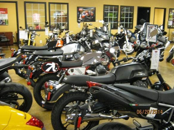 A whole row of Moto Guzzi bikes