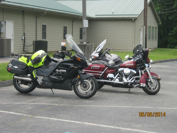 "The token Harley ""hog"" flanked by two ST's: an ST1100 and our beaST in back, ST1300."