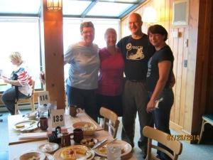 Friends at breakfast. L-R: Barbara, Tree, Rick, Roo.