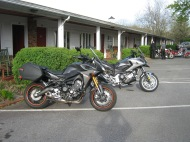 Skip's Yamaha FZ09 with my Honda behind
